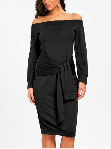 Buy Off The Shoulder Tie Waist Sweatshirt Dress