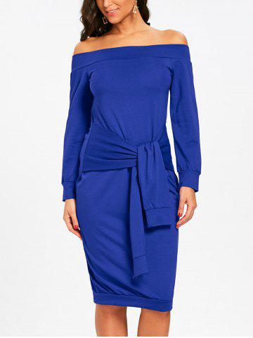 Hot Off The Shoulder Tie Waist Sweatshirt Dress