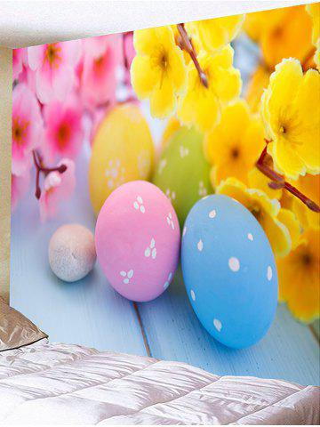 Trendy Flowers and Colorful Egg Shape Stones Printed Wall Decor Tapestry