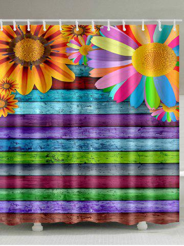 Store Sunflowers Colorful Wooden Board Print Shower Curtain