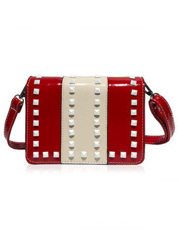 Chic Studs Contrasting Color Crossbody Bag
