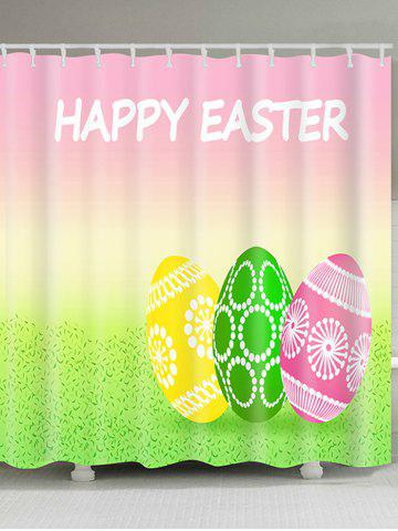 Affordable Happy Easter Letter Eggs Print Waterproof Shower Curtain