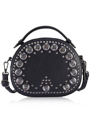 Fashion Vintage Studded Round Rivet PU Crossbody Bag