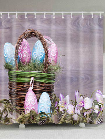 Outfit Bamboo Basket Easter Eggs Pattern Waterproof Bath Curtain