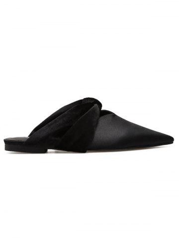 Unique V-Shaped Satin Slide Flats