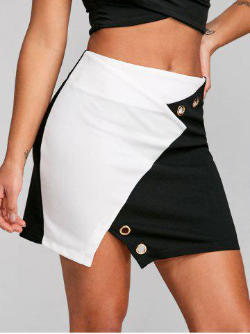 Chic Contrast Color Mini Skirt