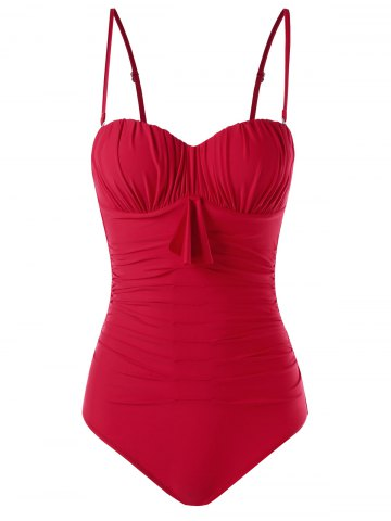 Discount Padded Ruched Bandeau One Piece Swimsuit