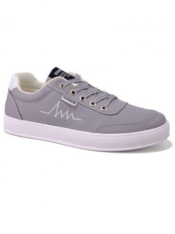 Outfits Contrast Collar Embroidery Canvas Skate Shoes