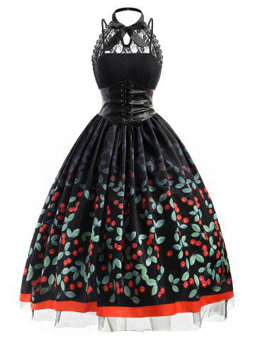 Buy Cherry Print Plus Size Vintage Gothic Dress