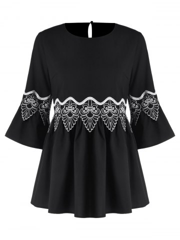 Online Applique Flare Sleeve Blouse