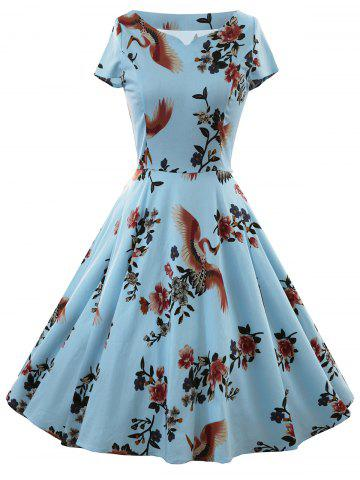 Hot Vintage Floral Bird Print Dress