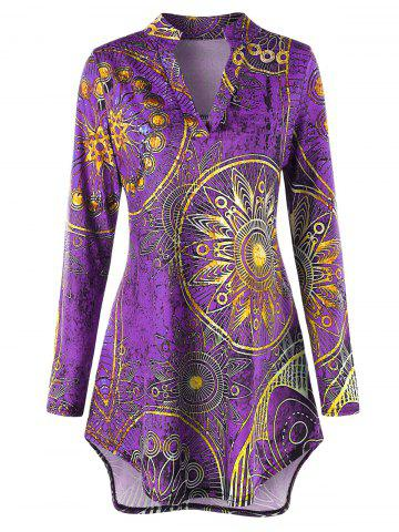 Fashion Plus Size High Low Ethnic Print Tunic Tee