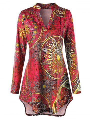 Cheap Plus Size High Low Ethnic Print Tunic Tee