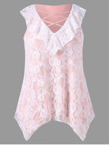 Fancy Plus Size Criss Cross Lace Handkerchief Tank Top