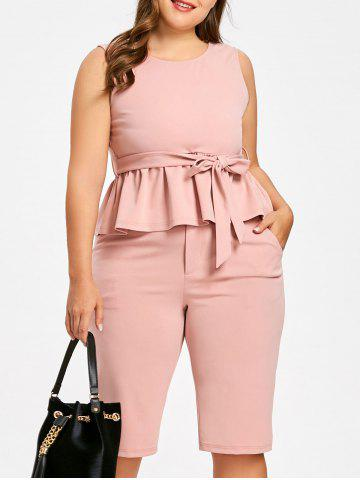 Outfit Plus Size Tie Belt Peplum Top with Knee Length Shorts