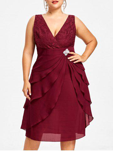 Wine Red 4xl Plus Size Lace Trim Tiered Dress With Brooch Rosegal
