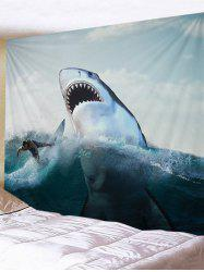 Surfer and Ferocious Shark Print Tapestry Wall Hanging Decor -