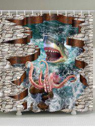 3D Sea Animals Shark Octopus Print Shower Curtain -