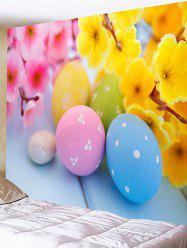 Flowers and Colorful Egg Shape Stones Printed Wall Decor Tapestry -