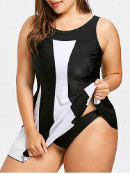 Plus Size Two Tone Skirted Tankini Swimsuit -