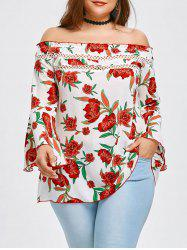 Off The Shoulder Plus Size Floral Blouse -