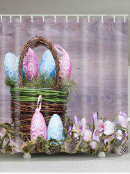 Bamboo Basket Easter Eggs Pattern Waterproof Bath Curtain -
