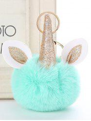 Fuzzy Ball Unicorn Alloy Keychain -
