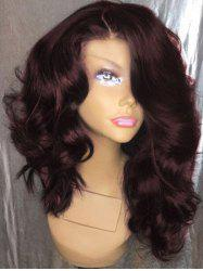 Long Side Parting Fluffy Loose Wave Synthetic Wig - Red Wine