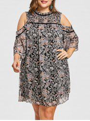 FRENCH BAZAAR Plus Size Cold Shoulder Half Sleeve Floral Print Dress -