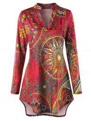 Plus Size High Low Ethnic Print Tunic Tee -
