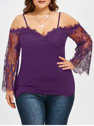 Plus Size Lace Trim Bell Sleeve Blouse -