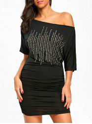 Rivets Embellished Skew Neck Bodycon Dress -