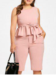 Plus Size Tie Belt Peplum Top with Knee Length Shorts -