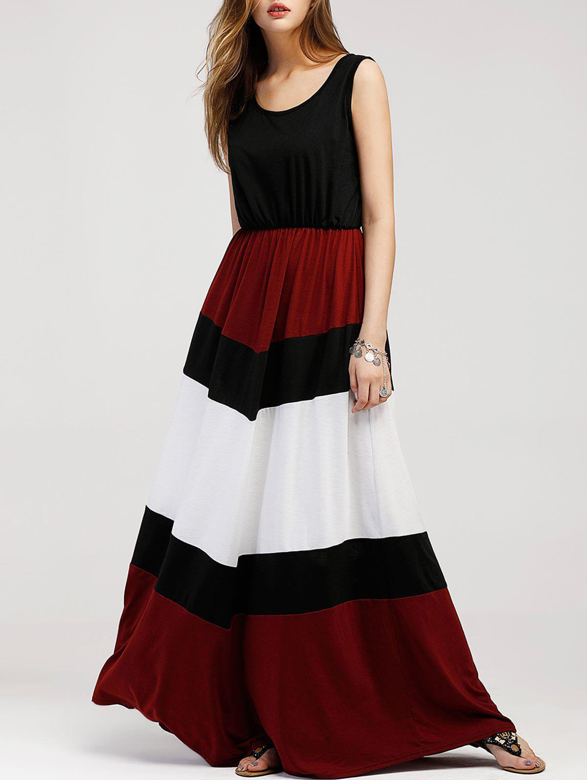 Hot Color Contrast Sleeveless Maxi Dress