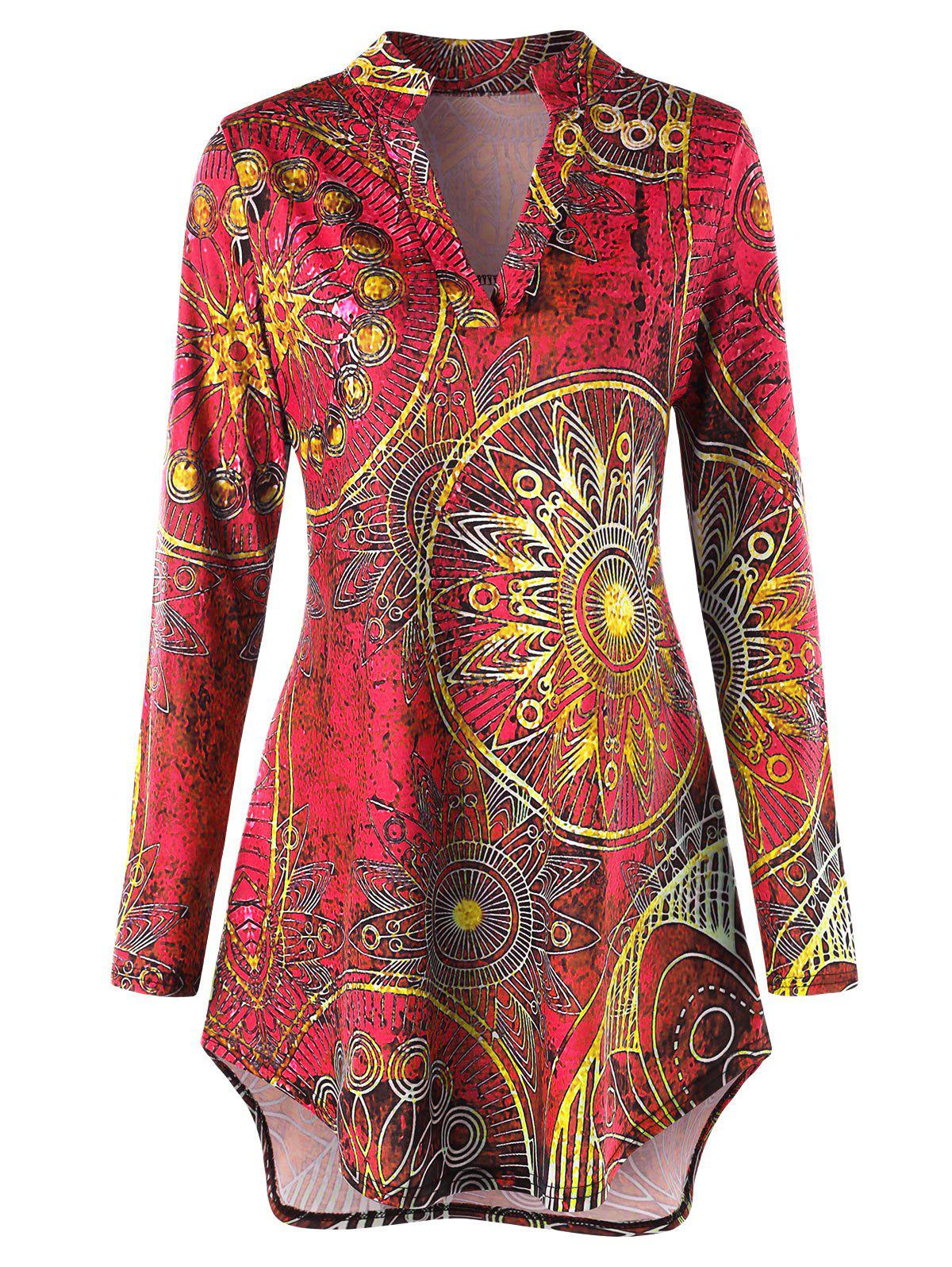 Fancy Plus Size High Low Ethnic Print Tunic Tee