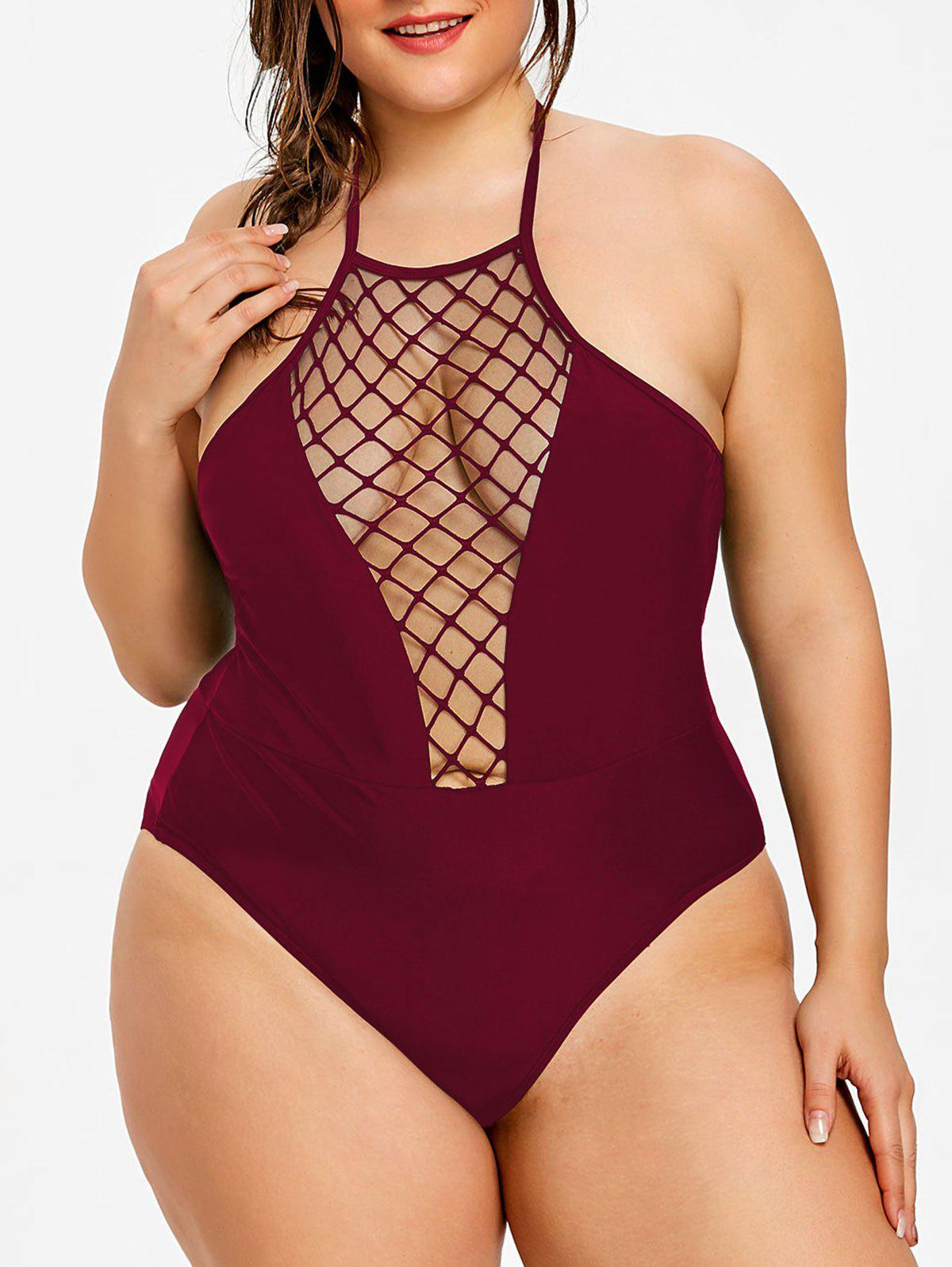 Latest Plus Size Halter Neck One Piece Swimwear