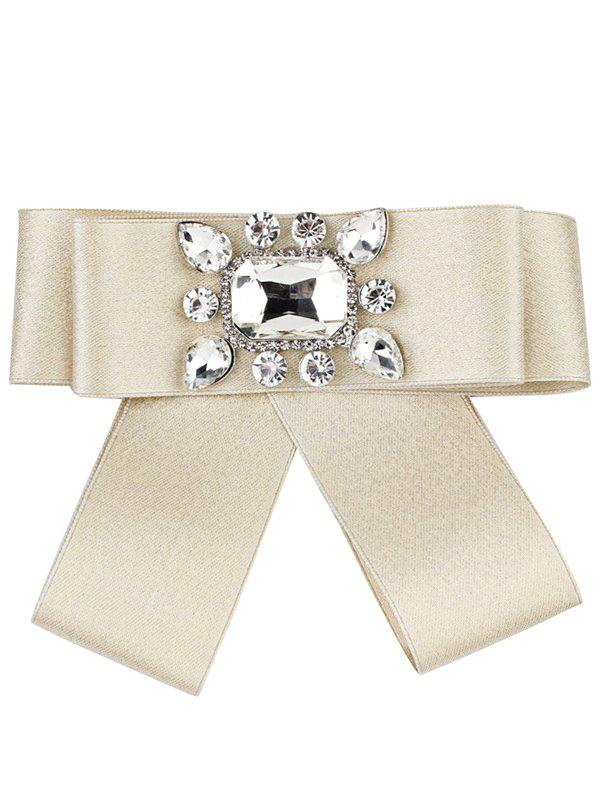 Outfit Rhinestone Inlaid Bowknot Ribbon Collar Brooch