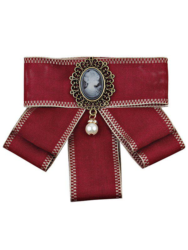 Buy Elegant Woman and Faux Pearl Decorated Brooch