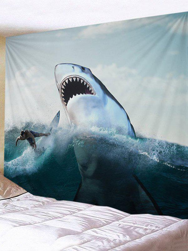 Online Surfer and Ferocious Shark Print Tapestry Wall Hanging Decor