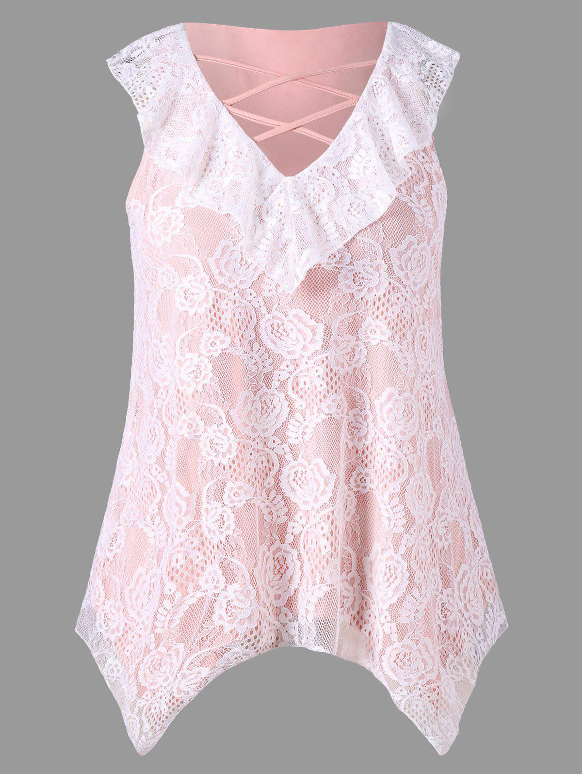 Sale Plus Size Criss Cross Lace Handkerchief Tank Top