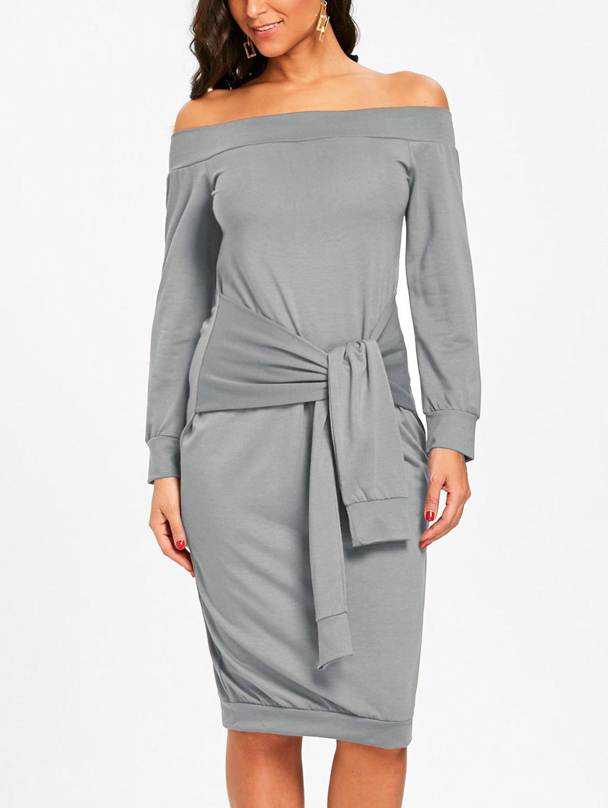 New Off The Shoulder Tie Waist Sweatshirt Dress