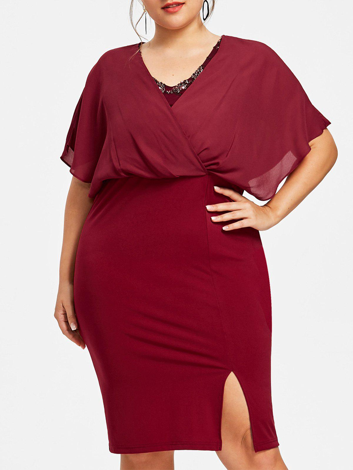 Unique Plus Size Evening Blouson Dress
