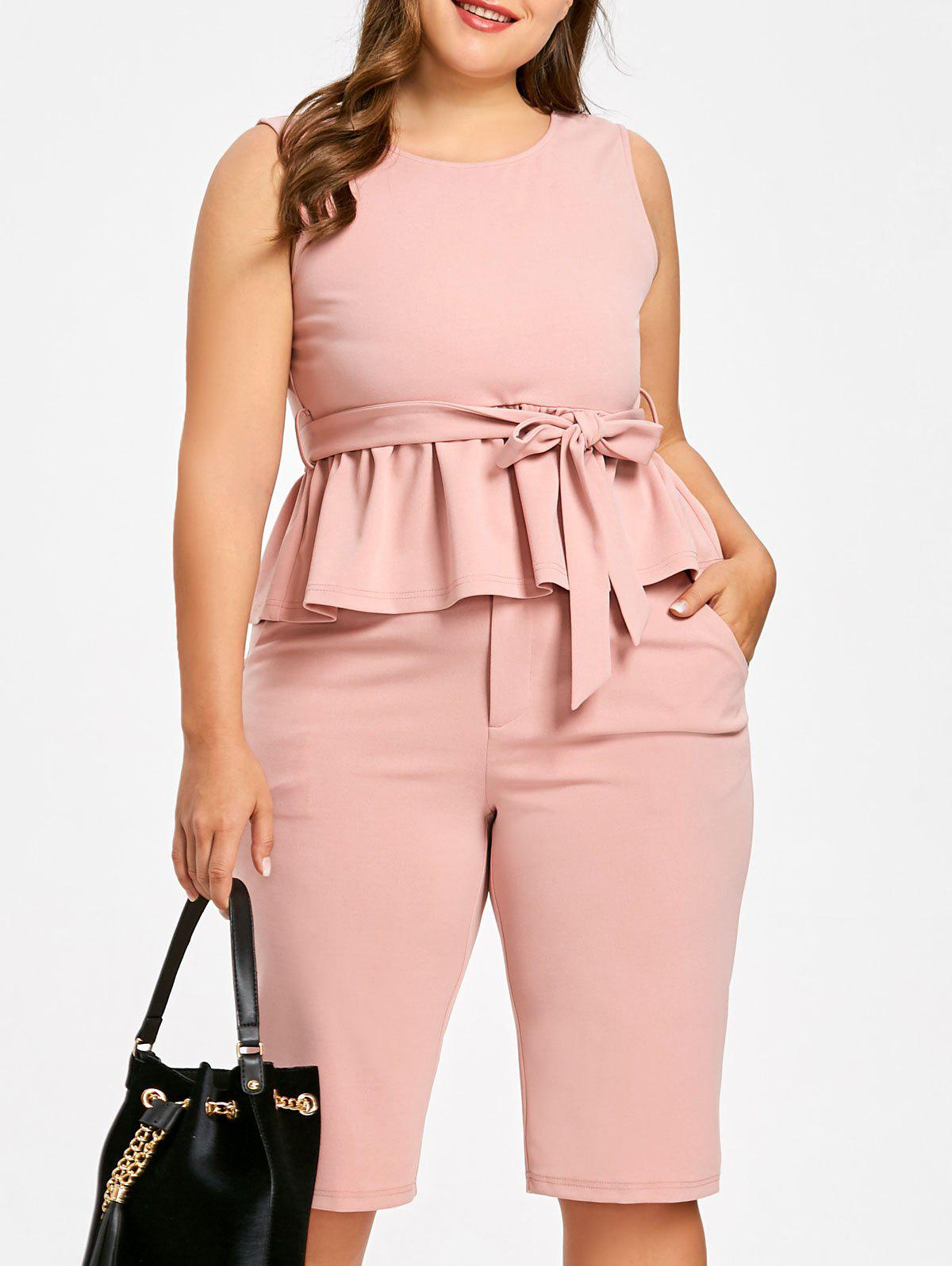 Plus Size Tie Belt Peplum Top with Knee Length Shorts