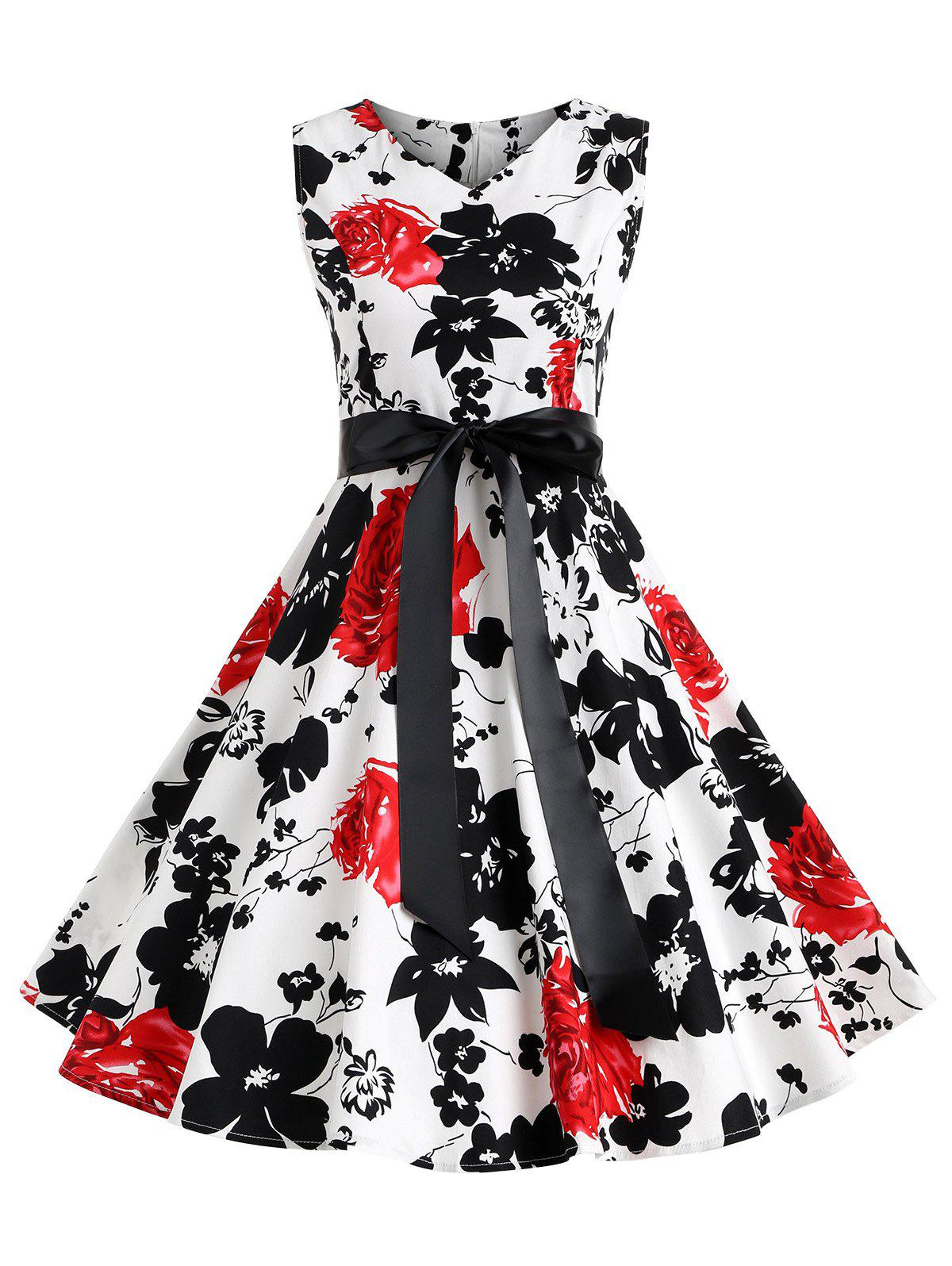 New Floral Print Belted Retro Dress
