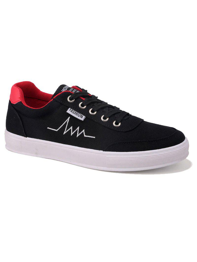 Fancy Contrast Collar Embroidery Canvas Skate Shoes