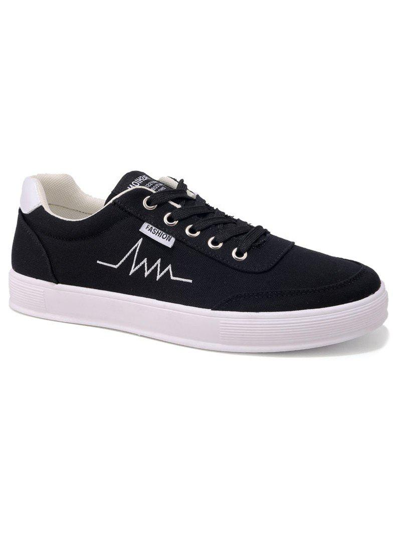 Online Contrast Collar Embroidery Canvas Skate Shoes
