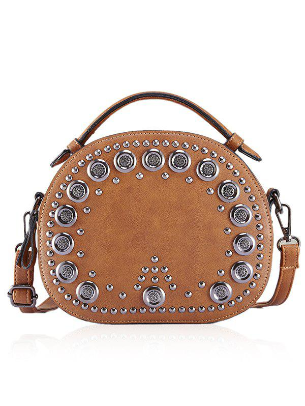 Outfits Vintage Studded Round Rivet PU Crossbody Bag