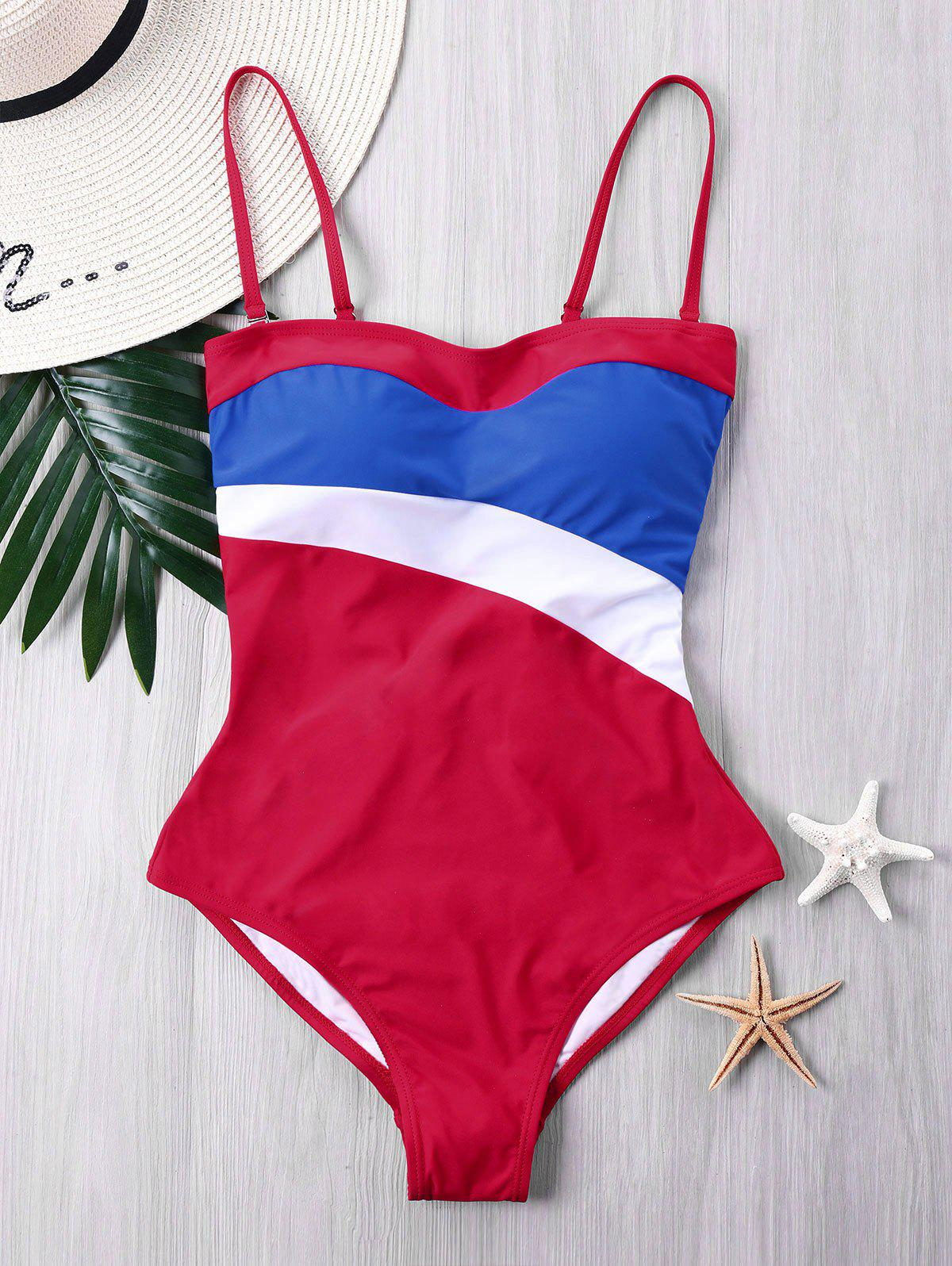 Fancy Padded Color Block One-piece Swimsuit
