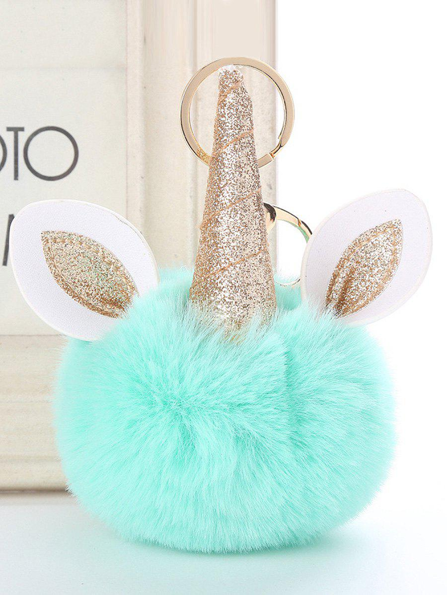 Online Fuzzy Ball Unicorn Alloy Keychain