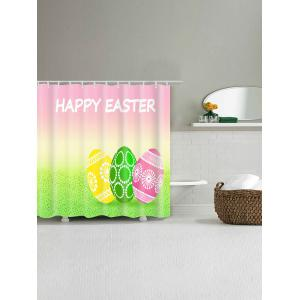 Happy Easter Letter Eggs Print Waterproof Shower Curtain -